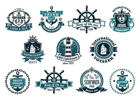 Blaue Schiffs Etiketten, Logos oder Embleme mit Ankern, Räder, Segelboote, Leuchtturm, Bänder, Seile, Ketten und Sterne gesetzt
