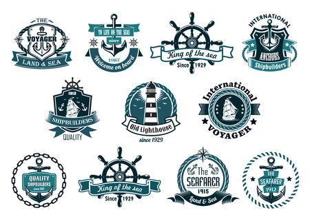 Blue marine labels, logo or emblems set with anchors, wheels, sailboats, lighthouse, ribbons, ropes, chains and stars