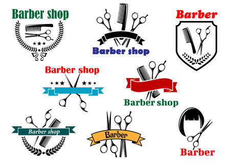 Barber shop emblems and labels for signboard design with open scissors, brushes, haircut silhouette part of them with ribbon banners and wreathes Vector