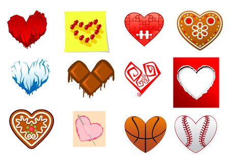 Colourful heart shapes set with ice, sports, turned paper, gingerbread, puzzle, chocolate and fire elements Vector