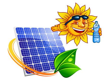 recursos renovables: El panel de energ�a solar azul rodeado de rayos de sol con las hojas verdes por encima de ellos sonriendo sol de dibujos animados con gafas de sol y una botella de agua. Energ�a y recursos renovables concepto alternativo
