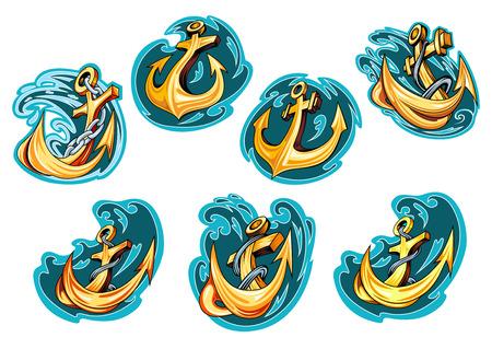 ancla: Anclajes de dibujos animados amarillos en azules olas del mar con cadenas y cuerdas para emblemas marinos o el dise�o del tatuaje