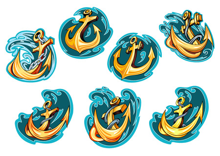 Yellow cartoon anchors on blue sea waves with chains and ropes for marine emblems or tattoo design