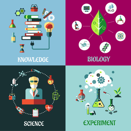 Science, medicine and physics concepts in flat style with flasks, test tubes, microscope, dna, atoms, knowledge,  books, medical and equipment icons Vector