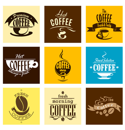 coffee beans: simple banners with steaming cups of coffee and aromatic coffee beans on yellow, brown and blue backgrounds for coffee shop, cafe, restaurant menu design