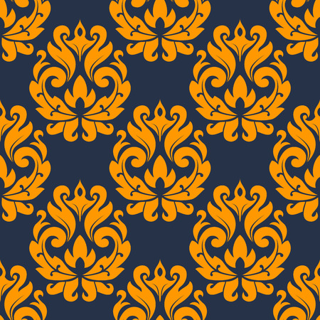 adornment: Seamless pattern in damask style of yellow flowers on dark background for fabric and textile design