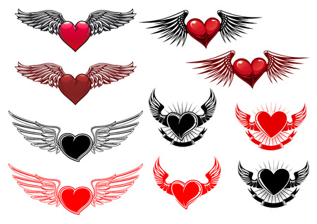 Heart tattoos with wings in retro style for heraldry or t-shirt design