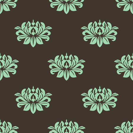 Seamless floral pattern with green lush flowers of peony on dark brown background suited for fabric or wallpaper design