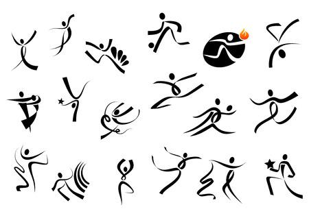 persone che ballano: Calcio, acrobazie, ginnastica, danza sportiva, correndo, saltando popoli sagome per la concorrenza e l'assistenza sanitaria di design Vettoriali