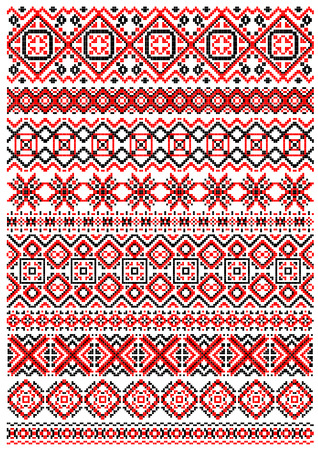 cross stitch: Geometric embroidery pattern in folk style with red, black and white ornaments