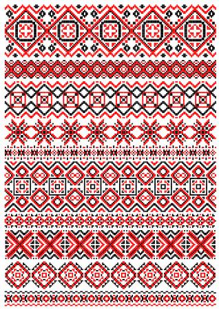 punto cruz: Patrón de bordado geométrico en estilo popular con los ornamentos rojos, negros y blancos
