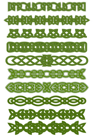 Green celtic patterns and ornaments for tattoo or ethnic decorations design Illustration
