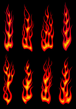 flames icon: Hot orange tribal fire flames isolated on black background for tattoo or car and motorcycle decorations design Illustration