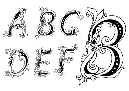 Capital outline floral letters A, B, C, D, E, F ornate decorated with flowers and leaves for romantic and vintage design Vetores
