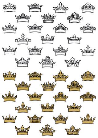 Esquema y coronas heráldicas antiguos de oro con elementos decorativos y curlicue aislados sobre fondo blanco Foto de archivo - 35131768