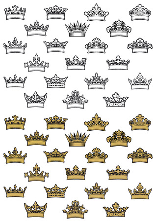 Outline and golden antique heraldic crowns with decorative elements and curlicue isolated on white background