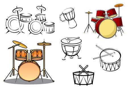 Drum planten, pauken, snare drum, bass drum en conga's in cartoon en schets stijl voor percussie en muziek ontwerp Stock Illustratie