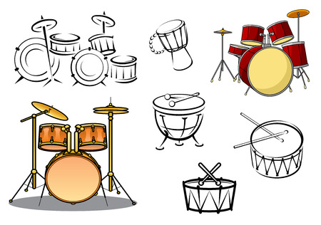 Drum plants, timpani, snare drum, bass drum and congas in cartoon and sketch style for percussion and music design