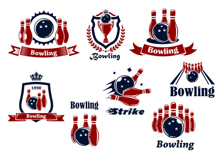 alleys: Bowling team or club emblems and icons with bowling balls, ninepins, alley, trophy, shields, banners, crowns, wreath and captions Bowling, Strike in dark blue and red colors Illustration