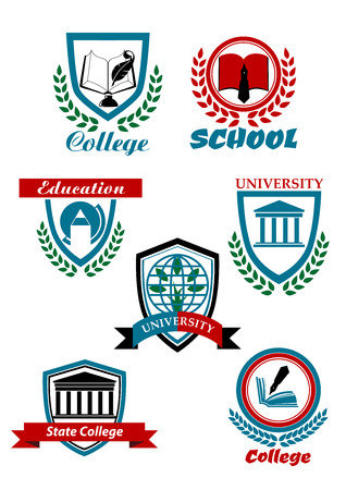 college education: Education heraldic emblems for school, college, university with books, pens, globe, buildings, tree bordered shields or stamps with laurel wreaths and ribbon banners