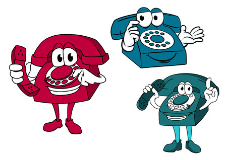 telephones: Smiling cartooned dial telephones in blue and red colors holding up the phone Illustration