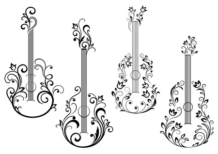 Abstract acoustic guitar icons with floral ornament in the form of guitar body