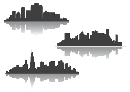skylines: Skylines of modern city with reflection and silhouettes of skyscrapers and towers for business or travel design Illustration