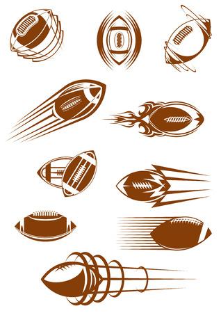 pelota de rugby: Iconos Brown del fútbol americano o rugby pelotas de cuero girando y volando por el aire con estelas de movimiento para el diseño deportivo Vectores