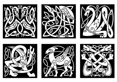 tracery: Mythical celtic animals heron, dragon, wolves, deer, gryphon, storks on black background for tattoo, mascot or totem design