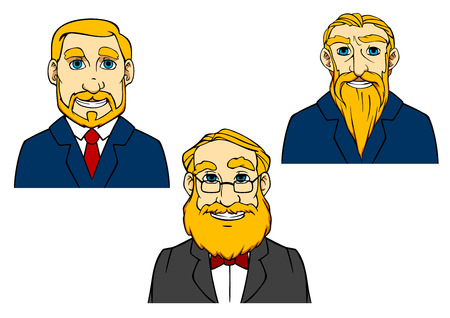 cartooned: Toothy smiling cartooned seniors with beards and mustaches in suits and ties isolated on white background Illustration