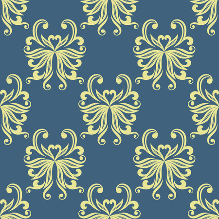 curlicue: Elegant seamless floral pattern with curlicue of stylized yellow pansies on blue background for interior wallpaper design