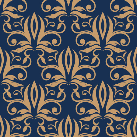 ornately: Light brown flourish motif in seamless pattern with ornately decorated densely packed flowers, leaves and tendrils on dark blue background Illustration