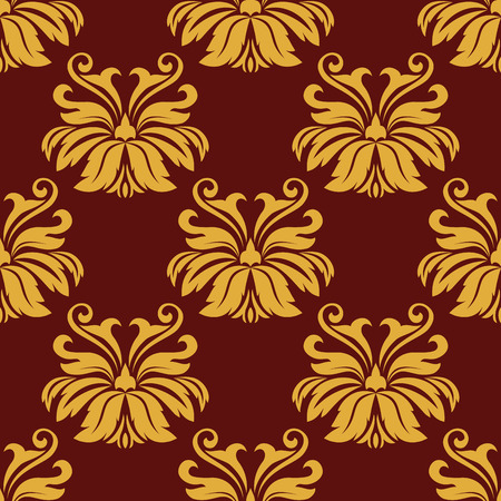 Yellow foliate seamless pattern with lush leaves scrolls on maroon background for luxury wallpaper and fabric design