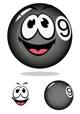 numero nueve: Brillante billar bola de billar de la historieta número nueve con la cara sonriente y la sombra de la mascota deportiva