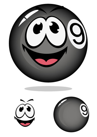 nine: Glossy cartoon billiard pool ball number nine with smiling face and shadow for sporting mascot