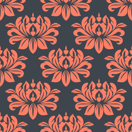 foliate: Seamless pattern of lush red peony flowers in damask style repeated ornament over dark gray background for wallpaper and interior design Illustration