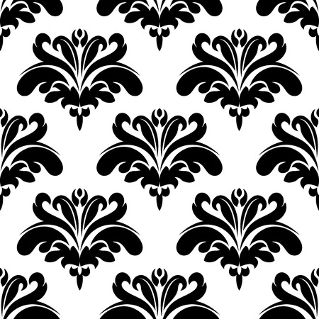 victorian wallpaper: Flourish seamless pattern with black ornate victorian styled flowers on white background for luxury wallpaper and textile design Illustration
