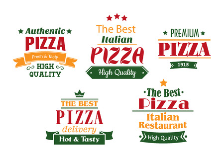 Pizza banners, labels and signs for pizzeria, cafe or restaurant design Vector