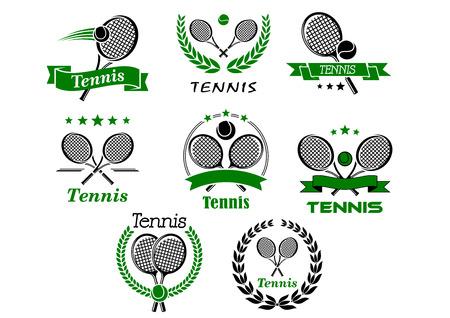 テニス エンブレム、バナー、シンボル、ラケット、ボール、花輪、スポーツ大会のロゴやデザインのリボンのアイコン