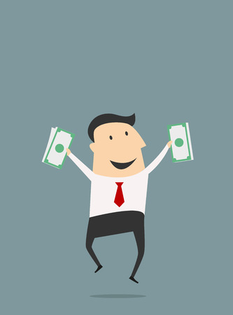 Funny cartoon businessman jumping with dollars packs. Flat vector concept Illusztráció