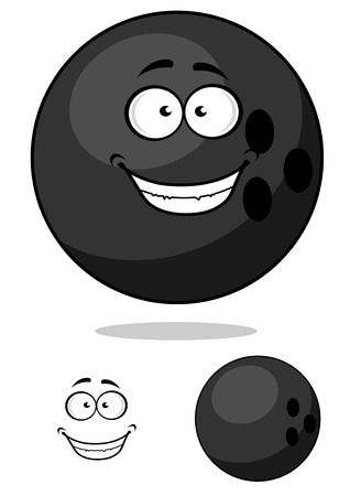 Cartooned bowling ball with funny face isolated on white and with separated elements