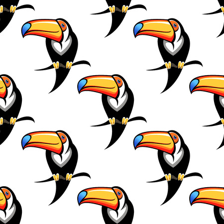 tucan: Colorful funny toucan bird seamless pattern for travel or wildlife design Illustration