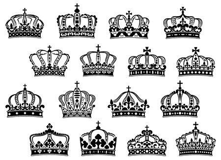 Royal or imperial crowns set with gemstones and decorations for heraldry or medieval design