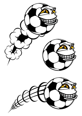 cartooned: Flying cartooned soccer or football ball with funny face and motion trails