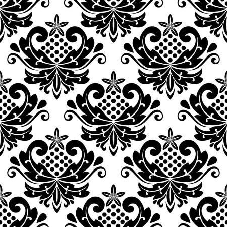 Classic damask seamless pattern with dainty retro black flowers on white background