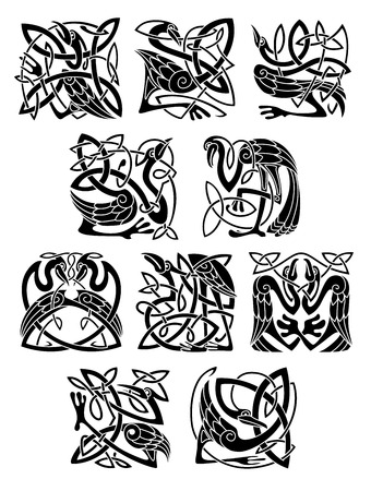 Heron, stork and crane birds in celtic patterns, ornaments and decorations Vector