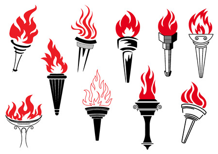 Vintage torches with burning flames for sports, logo or another heraldic design