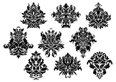 Vintage floral elements and motifs set in damask or arabesque style