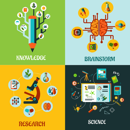 Research, science, knowledge and brainstorm flat concepts with different icons or symbols