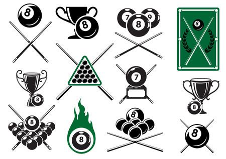 Biljarten, pool en snooker sport emblemen met gekruiste signalen, biljartballen, trofee kopjes en tafel